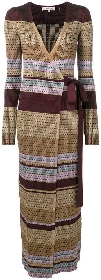 Diane von Furstenberg horizontal striped wrap dress
