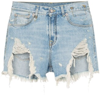 R 13 Tilly shredded slouch denim shorts