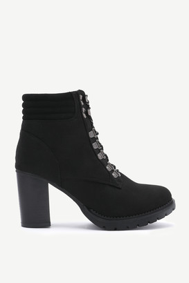 Ardene Faux Suede Track Heel Ankle Boots