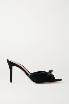 Gianvito Rossi 85 Bow-embellished Silk-trimmed Suede Mules - Black
