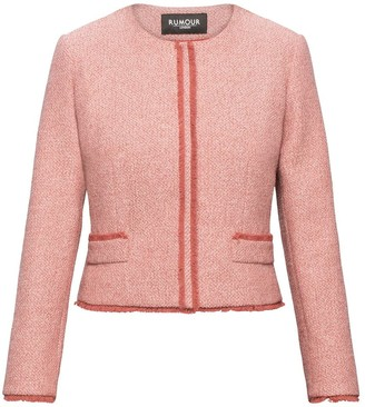 Rumour London Eleanor Soft Pink Tweed Jacket with Fringing Detail