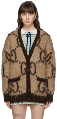 Gucci Reversible Beige and Brown Mohair GG Oversized Cardigan