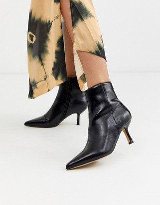 Topshop pointed boots with flare heels in black