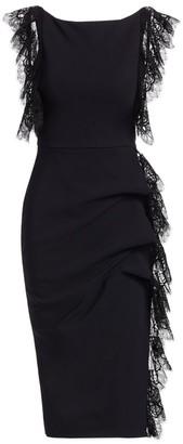 Chiara Boni Preet Lace Gathered Sheath Dress
