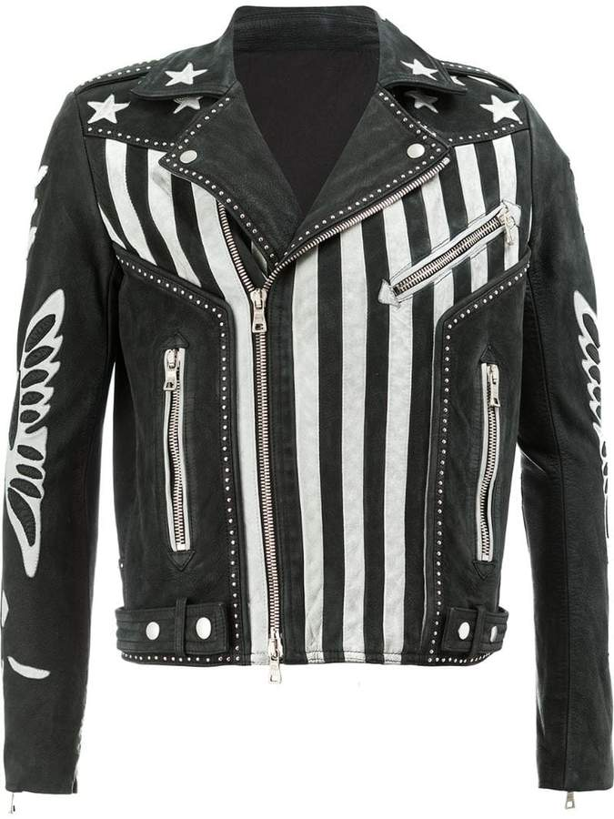 Balmain American flag print leather jacket