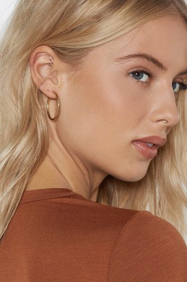Nasty Gal Womens Whether You Win or Hoop Earrings - Gold