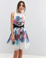 Little Mistress Watercolour Print Cut Out Prom Dress