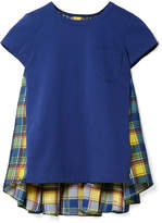 Sacai Cotton-jersey And Checked Satin T-shirt - Blue