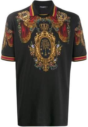 Dolce & Gabbana crest print polo shirt