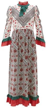 D'Ascoli Cormandel Floral-print Ruffled Silk Maxi Dress - Womens - White Multi