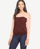 Ann Taylor Petite Colorblock Extrafine Merino Wool Cold Shoulder Sweater
