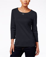 Karen Scott Scoop-Neck Embellished Top, Only at Macy's