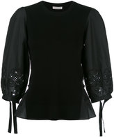 Moncler blouson sleeve bi-fabric top