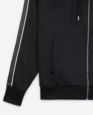 The Kooples Black zipped hoodie with leather stripe
