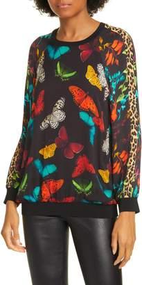 Alice + Olivia Calvin Mixed Print Raglan Sleeve Sweatshirt