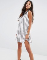 Glamorous Sleeveless Shirt Dress With Button Collar And Linear Print