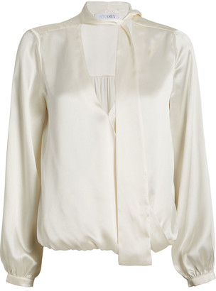 Intermix Cadence Silk Charmeuse Tie Neck Blouse