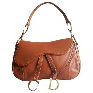 Christian Dior Double Saddle Camel Leather Handbags