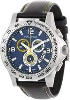 Nautica Men's N19608G Leather Quartz Watch with Blue Dial