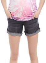 Indigo Blue Secret Fit Belly Roll Fray Maternity Shorts