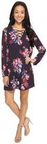 Brigitte Bailey Christal Long Sleeve Lace Front Shift Dress Women's Dress