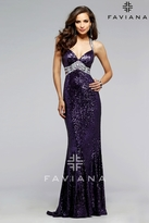 Faviana 7507 Sequined evening dress with silver center beading and side cut-outs