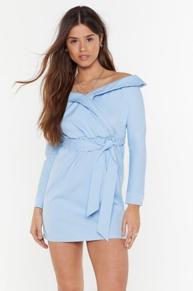 Nasty Gal Womens Ready for Take Off-the-Shoulder Mini Dress - Blue - 12