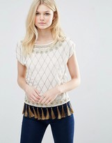 Glamorous Embellished Top With Tassel Detail