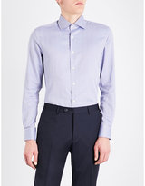 Corneliani Mens Pale Blue Buttoned Herringbone-Pattern Slim-Fit Cotton Shirt