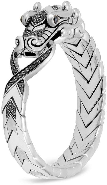 40632098fa46c Sterling Silver Legends Naga with Black Spinel & Blue Sapphire Eyes Bracelet
