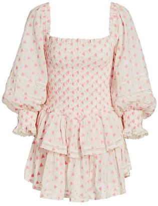LoveShackFancy Raelynn Smocked Ruffled Mini Dress
