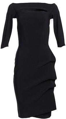 Chiara Boni Kate Ruffled Three-Quarter Sleeve Bodycon Dress