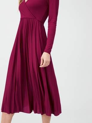 River Island Long Sleeve Pleated Midi Dress - Burgundy