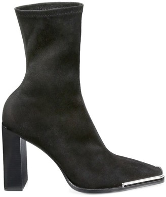 Alexander Wang Mascha Square-Toe Stretch-Suede Sock Boots