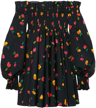 Caroline Constas Off-the-shoulder Floral-print Cotton-blend Mini Dress