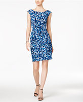 Connected Petite Dot-Print Faux-Wrap Dress