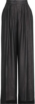 Max Mara Gathered Silk-chiffon Wide-leg Pants