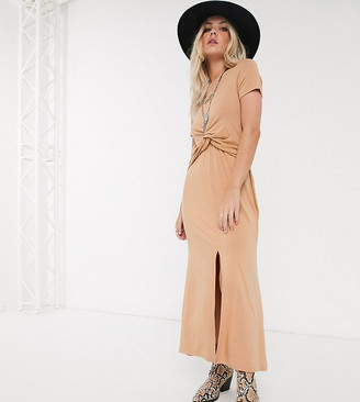 Asos DESIGN Petite twist front maxi dress in camel