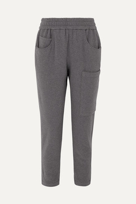 Brunello Cucinelli Bead-embellished Melange Stretch-cotton Jersey Track Pants - Gray