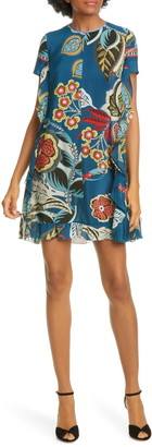 RED Valentino Floral Print Side Ruffle Minidress