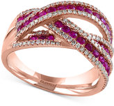 Effy Rosa by Ruby (1 ct. t.w.) and Diamond (3/8 ct. t.w.) Interwoven Ring in 14k Rose Gold