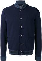 Giorgio Armani teal tipped varsity jacket - men - Cotton/Spandex/Elastane - 48