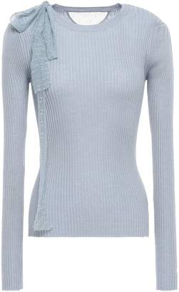 RED Valentino Point D'esprit-trimmed Ribbed Cashmere And Silk-blend Sweater