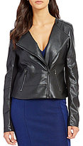 GUESS Shaun Long-Sleeve Faux-Leather Cropped Jacket