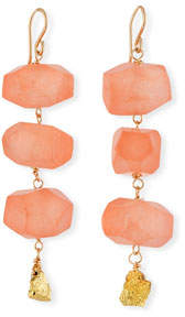 Devon Leigh Carnelian & Pyrite Nugget Earrings