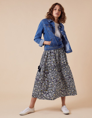 Monsoon Floral Print Midi Skirt in Organic Cotton Blue