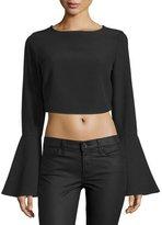 KENDALL + KYLIE Bell-Sleeve Crop Top, Black