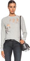 R 13 Shredded Zip Side Cotton Sweatshirt