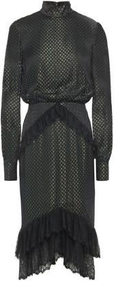 Saloni Lace-trimmed Metallic Devore-satin Dress