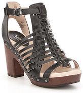 Jambu Valentina Leather Caged Wood Block Heel Sandals